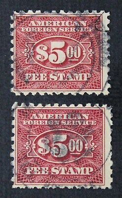 CKStamps: US Revenue Consular Service Fee Stamps Scott#RK30 (2) Used CV$55