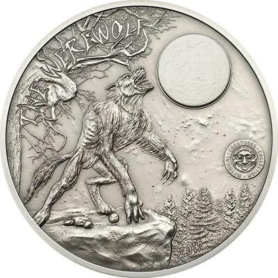 Palau 2013 $10 Mythical Creatures The Werewolf 2oz Silver Coin with Marble inlay