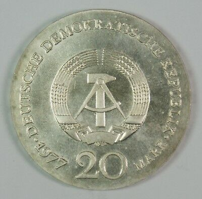 1977 German Democratic Republic 20 Marks East Germany Silver Coin