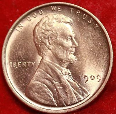 Uncirculated 1909 Red Philadelphia Mint Copper Lincoln Wheat Cent Free S/H