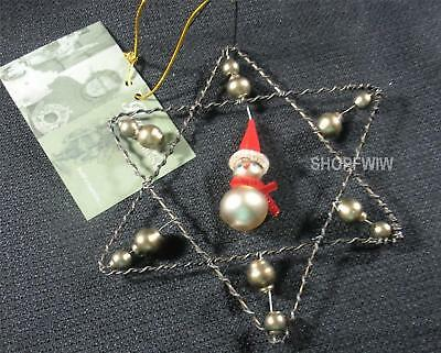 """Bethany Lowe 5""""  Wire Krinkle Star Ornament with Snowman New"""