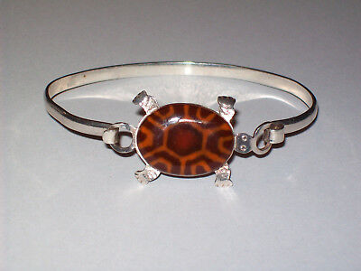 SE .925 Sterling Silver Turtle Hook Clasp Bangle Bracelet