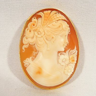 "OUTSTANDING 18K Solid Gold Framed Large Shell Cameo 2 1/8"" by 1 5/8""   14.5 Gram"