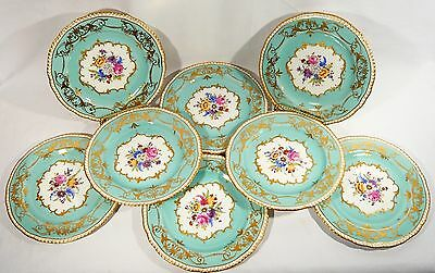 """8 RARE Antique SWANSEA Trident Mark Gold Encrusted 8 1/4""""  China Cabinet PLATES"""