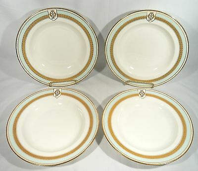 "4 VERY RARE Antique 1865 W Fairbairns Armorial Large Soup Bowl 10"" GOLD & Silver"