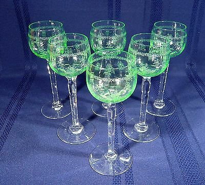 "6 Green glass Etched Floral WINE HOCKS  7 1/4 "" Notched Stem Optic Panel 5 oz."