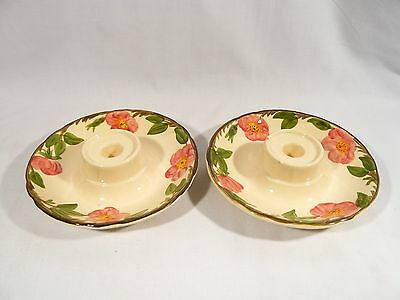 Rare 2 Franciscan China DESERT ROSE CANDLE STICK HURRICANE Lamp BASES  POTTERY