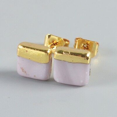 7mm Square Natural Shell Stud Earrings Gold Plated T047653