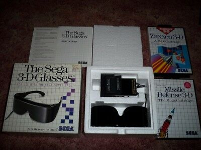 Sega Master System - 3-D Glasses *COMPLETE* CIB w/ 2 Games *WORKS GREAT*