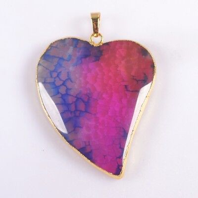 Heart Hot Pink & Blue Fire Agate Pendant Bead Gold Plated T047412