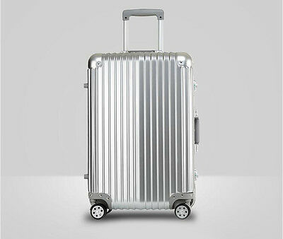 """24"""" Silver PC+ABS Universal Wheel Password Travel Suitcase/Trolley luggage."""