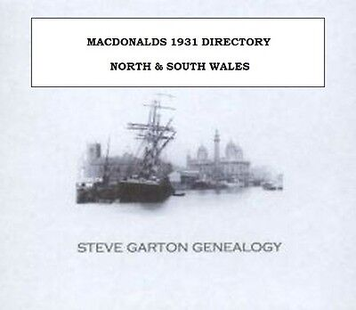 Macdonalds 1931 Directory Of North & South Wales
