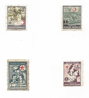 Turkey Red Crescent Stamps on Sheet Mounted