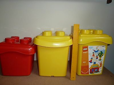 Lego 3 Empty Tub Container Bucket With Lids Only - No Bricks Included