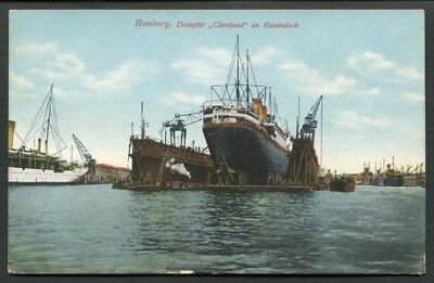 """C1912 H.a.p.a.g """"cleveland"""" In Floating Dry Dock Hamburg   Col Pc"""