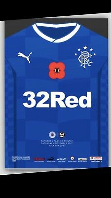 Rangers v Partick Thistle  Nov 4th 2017 Mint Programme Official Unread