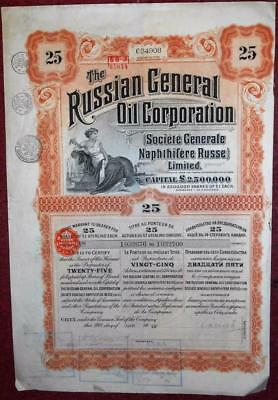31501 RUSSIA 1913 Russian Oil Corporation 25 shares Warrant with coupons