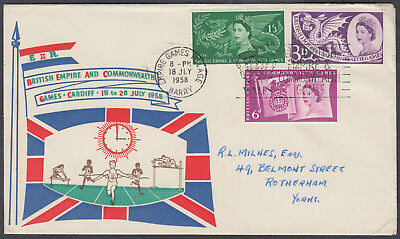 1958 British Empire & Commonwealth Games scarce design FDC; Barry Slogan