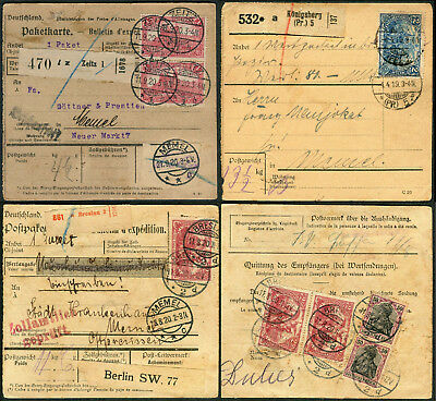 Memel DR Incoming EF MeF & MiF Germania MARKWERTE Deutsches Reich PAKETKARTE Lot