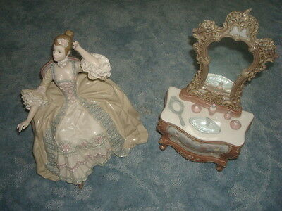 RETIRED LLADRO LADY with DRESSING TABLE 2 PIECE SET