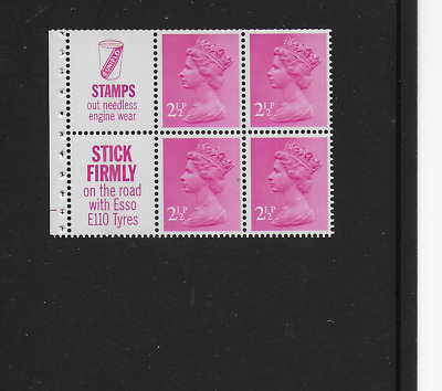 SGUB26 - 4 x 2½p + Labels, Perf AP, Cylinder B4 at row 18 in Error