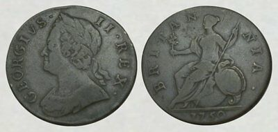 *INCREDIBLE !! * Colonial Copper Coin - 1750 Geo II Halfpenny - NICE DETAIL !