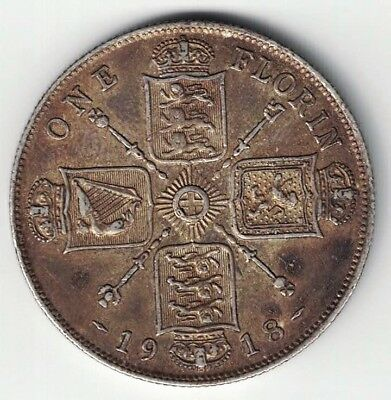 Great Britain 1918 One Florin King George V .925 Sterling Silver Foreign Coin