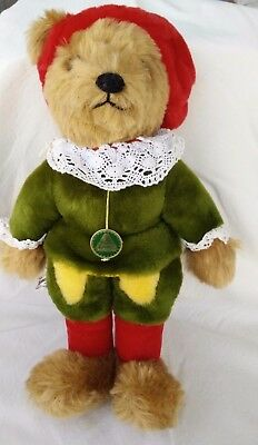 "Hermann Teddy Bear 14"" Coburg Germany Green Hang Tag Mphair Shakespearean Green"