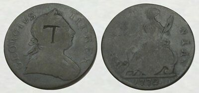 * Counterstamped / Pickaxe * King George Iii Colonial Halfpenny * Countermarked