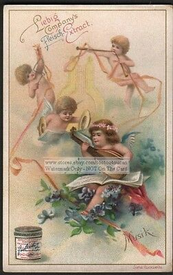 Musician Cherub - Angels Playing Mandolin - Lute - Cymbals 1896 Trade Ad Card