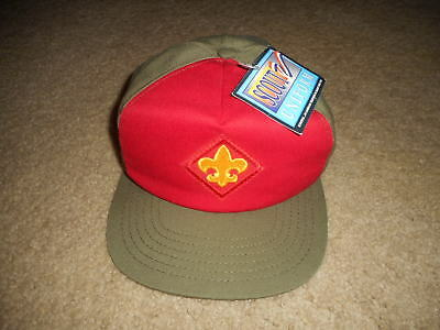 Vintage BSA Boy Scouts Twill Snapback Adjustable Cap Red Olive Green Free Ship