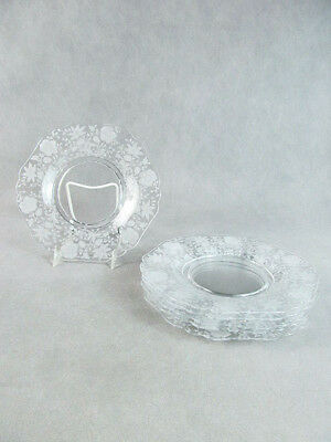 "1940s CAMBRIDGE ""WILDFLOWER"" Pattern 6 Etched SALAD PLATES"