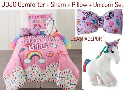 4pc Girls Jojo Siwa Rainbow Comfortersham Unicornbow Pillow Set
