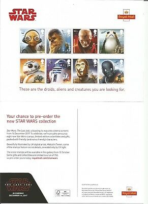 Royal Mail  Star Wars Issue  2017  Promotional Card Flyer  (Stamps NOT included)