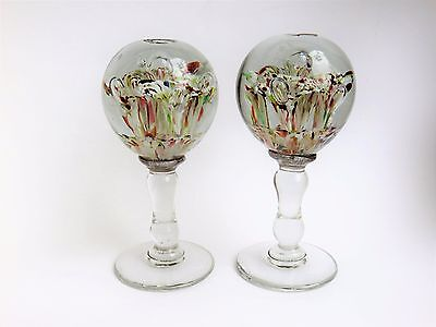 Scarce Pair Antique Vintage Wig Stands Paperweight End Of Day Glass