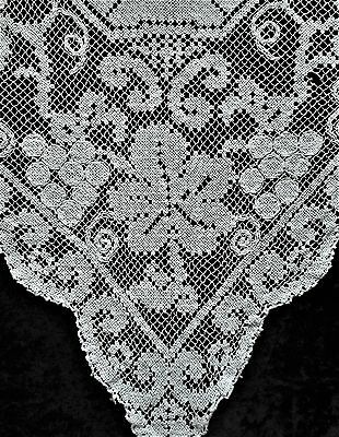 Soft White Filet Crochet Hand Crocheted Vintage Antique Tablecloth Square 50x50