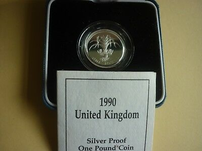 Royal Mint - Cased 1990 Silver Proof £1 Coin + Coa