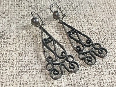 Vintage FBV Signed Mexico Mexican Filigree Drop/dangle Openwork Earrings