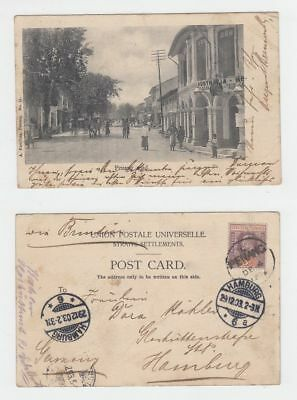 Straits Settlements Singapore Old Postcard Road Penang To Germany 1903 !!