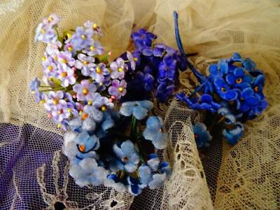4 Beautiful Bunches Tiny Velvet Vintage For-Get-Me -Not Flowers (C)