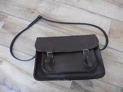 Original 1970's thick brown hide leather Cambridge style satchel with new strap