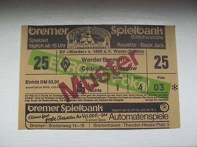 Werder Bremen V  Celtic Fc   Large Full Ticket  European Cup 1988 Season