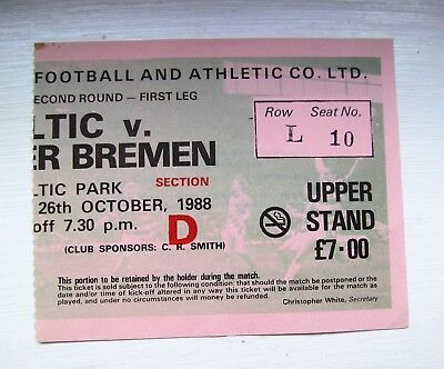 Celtic Fc V Werder Bremen    Home Stand Ticket  European Cup 1988 Season