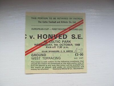 Celtic Fc  V  Honved S.e.    Home  Ticket  European Cup 1988 Season