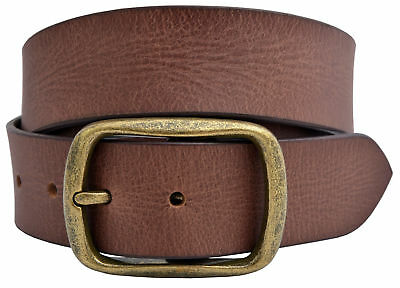 Vintage Full Grain Buffalo Solid Leather Belt w/Gold Finish Center Bar Buckle