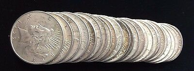 20 Peace U.S. Silver Dollars.  Grades from VG-XF.  Average F-VF. Survival Silver