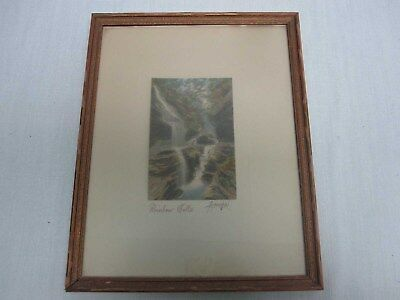 """Signed Charles Sawyer """"rainbow Falls"""" Hand Tinted Framed Photograph"""