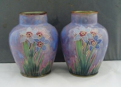 Royal Doulton Lambeth Art Pottery Pair Of Vases Daffodil Narcissus Decoration