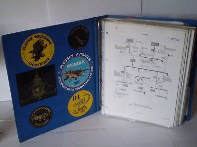 VERY RARE 1980s RAF HARRIER MANUAL WITH DIAGRAMS & RAF RELATED STICKERS/LABELS