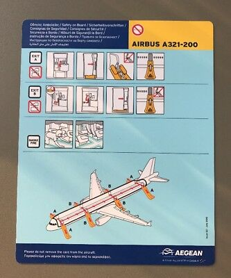 Aegean Airlines Greece A3 Airbus 321 200 A321-200 Safety Card Sicherheitskarte